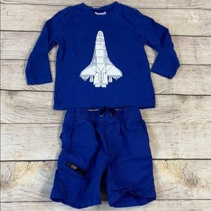 Hanna Andersson Space Ship Top and Shorts Bundle